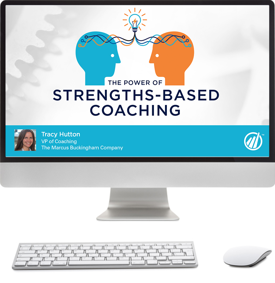 Image of a computer screen with a Strengths-Based Coaching graphic
