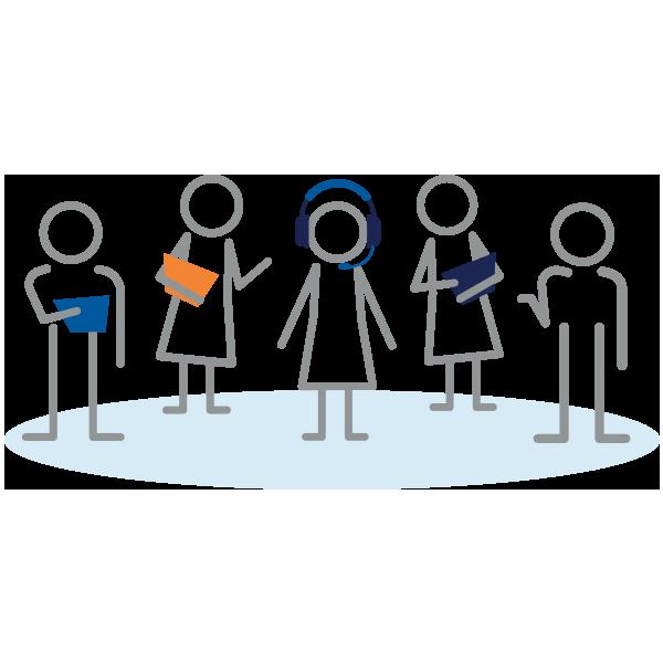 Illustration of stick figures representing Client Success team.