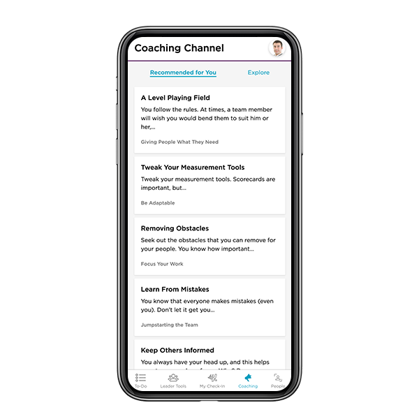 The StandOut Coaching platform displayed on a mobile device.