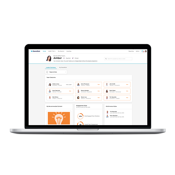 StandOut's Dynamic Team functionality displayed on a laptop.